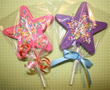 centerpieces for quinceaneras purple with hotpink | Confetti Star Chocolate Lollipop Sweet 16 Favors