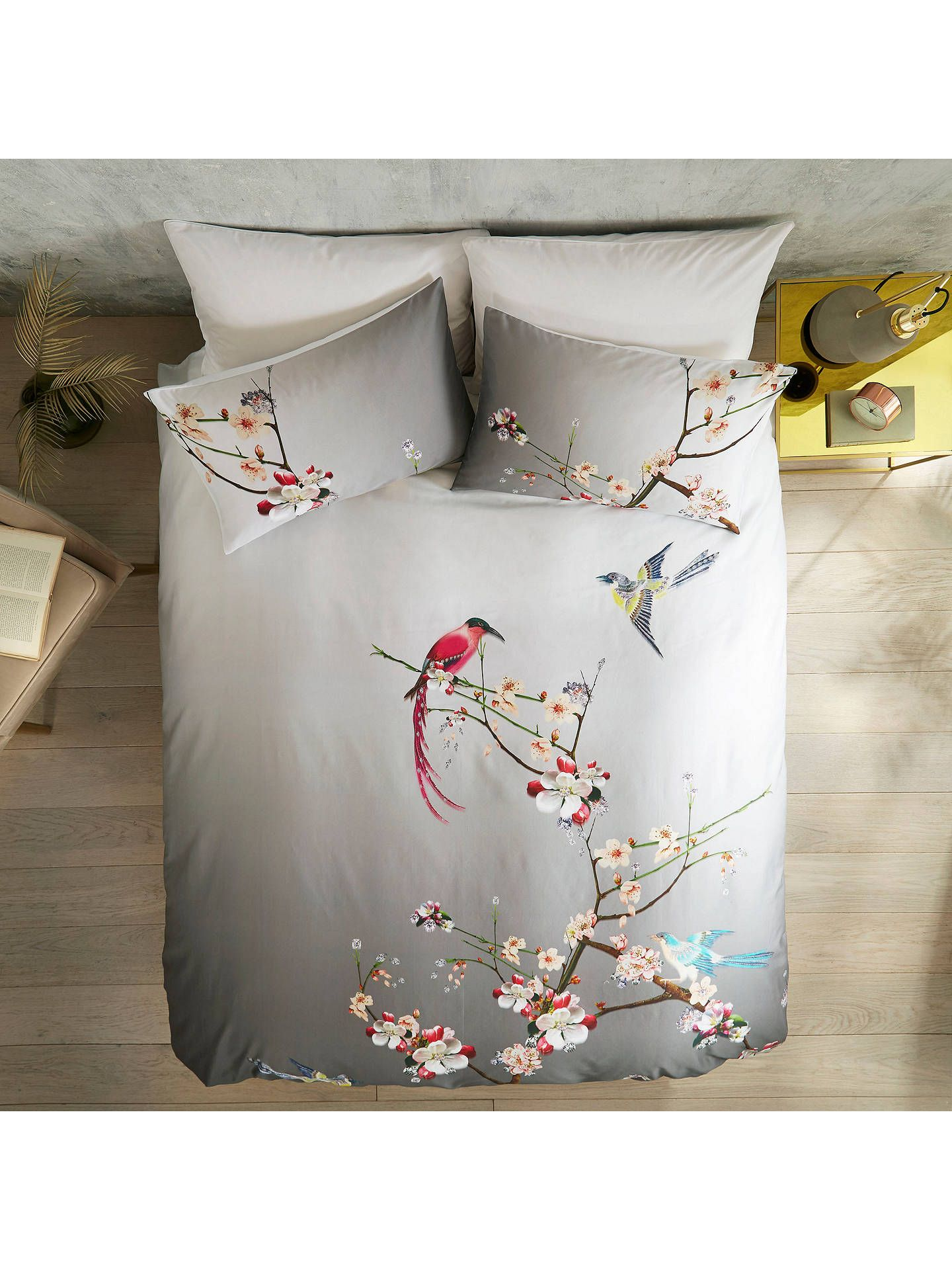 Ted Baker Flight Of The Orient Cotton Bedding Grey Cotton