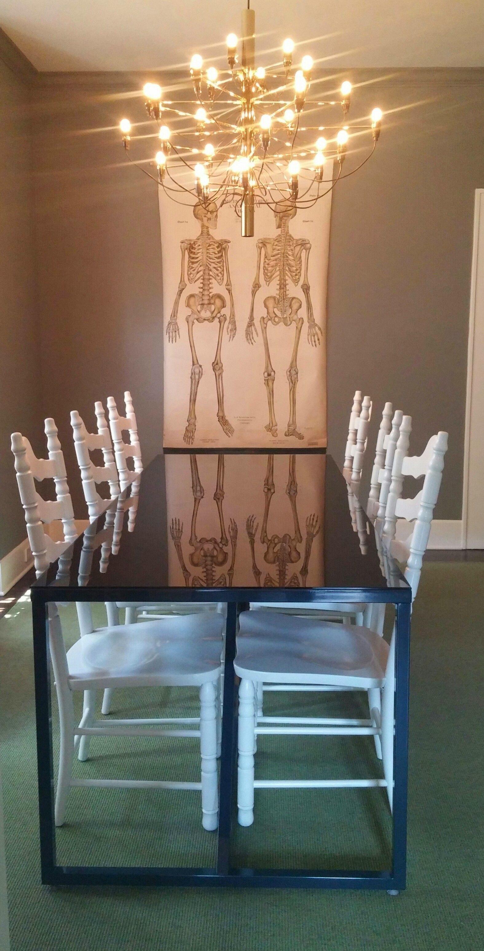 Blu Dot Table, Painted Craigslist Chairs, Mod 2097 Chandelier, Kasthall  Macro Melange Rug
