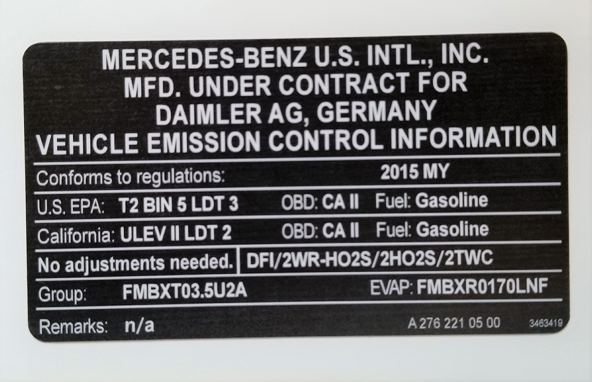 Mercedes Benz Emission Control Sticker Mercedes Benz Mercedes Benz [ 1563 x 2421 Pixel ]