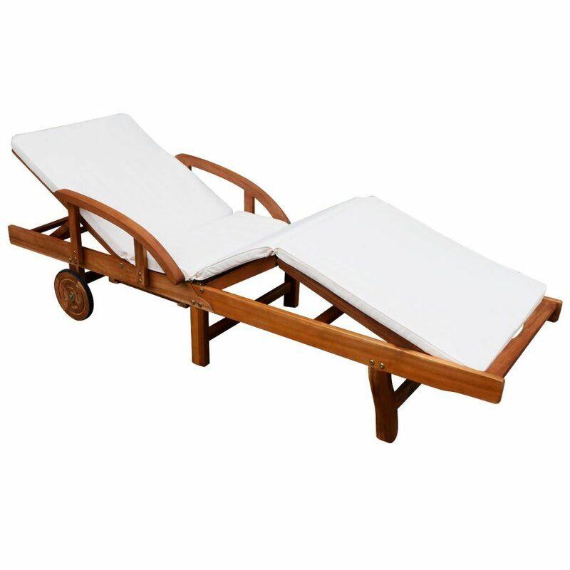 Verstellbare Gartenliege Mit Auflage Und Tisch Sonnenliege Gartenliege Holzliege