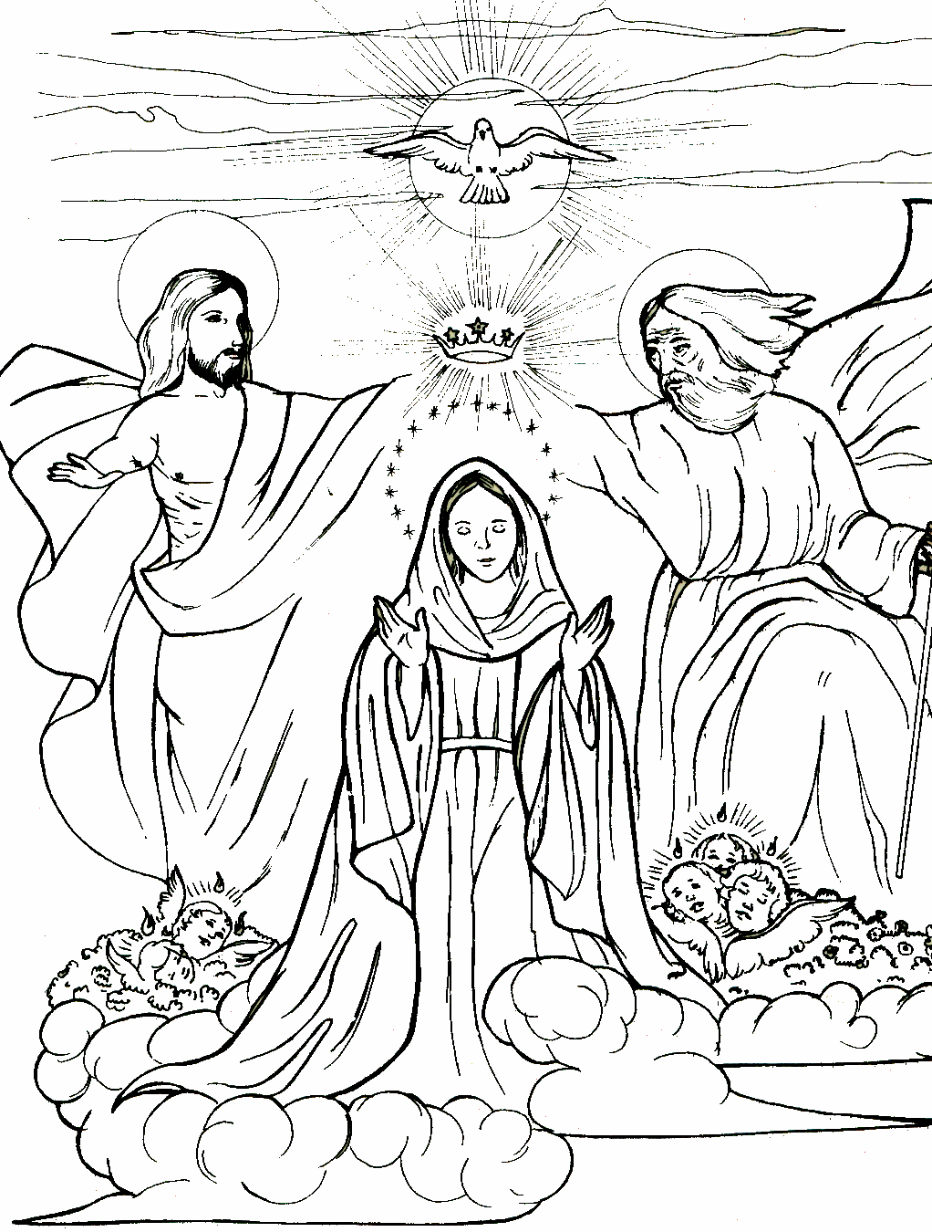 Coronation of Mary, Mary Queen of Heaven coloring page