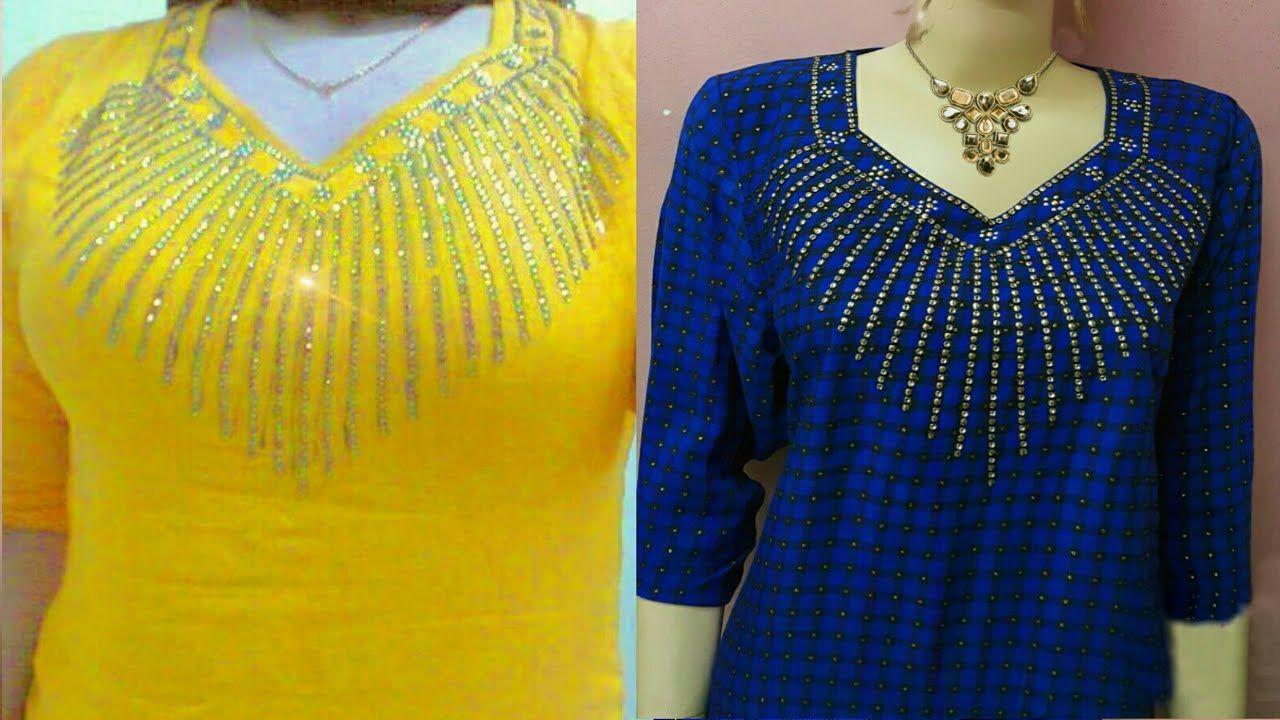 رمضان مبارك شرح موديل رائع نقشة على الصدر بطريقه سهله Long Sleeve Blouse Fashion Sleeve Blouse