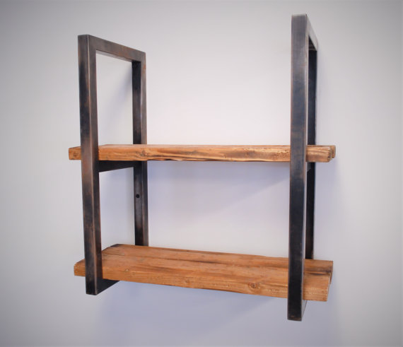Reclaimed wood and steel shelves muebles madera y for Muebles de madera industrial acero