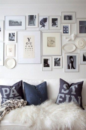 Looking for photo wall layout and frame inspiration.... this is nice ...