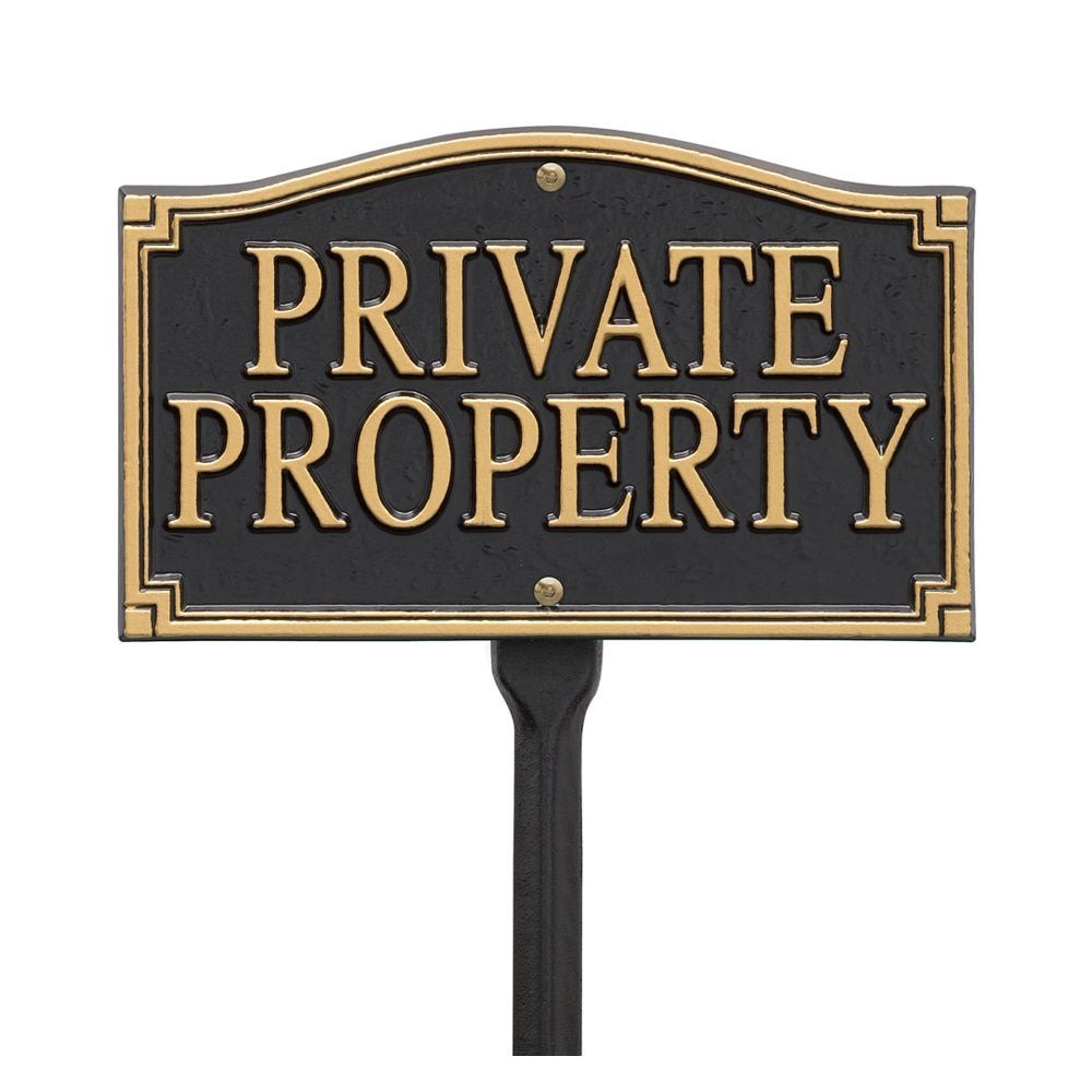 Decorative Private Property Signs Whitehall White Hall Private Property Black And Gold Statement