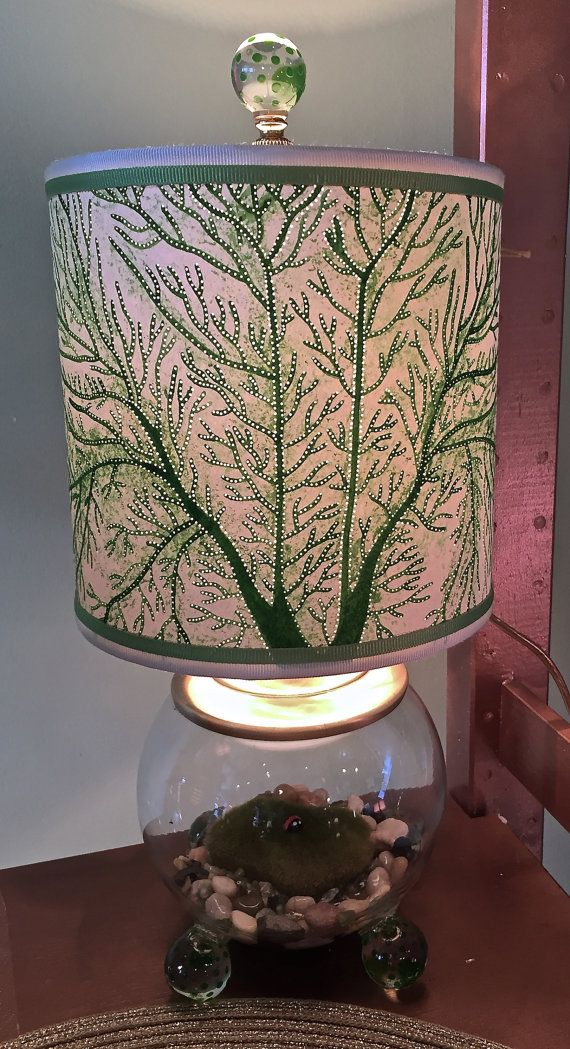Spring green fan coral pierced lampshade new trim on ladybug moss spring green fan coral pierced lampshade new trim on ladybug moss bubble ball lamp ooak mozeypictures Choice Image