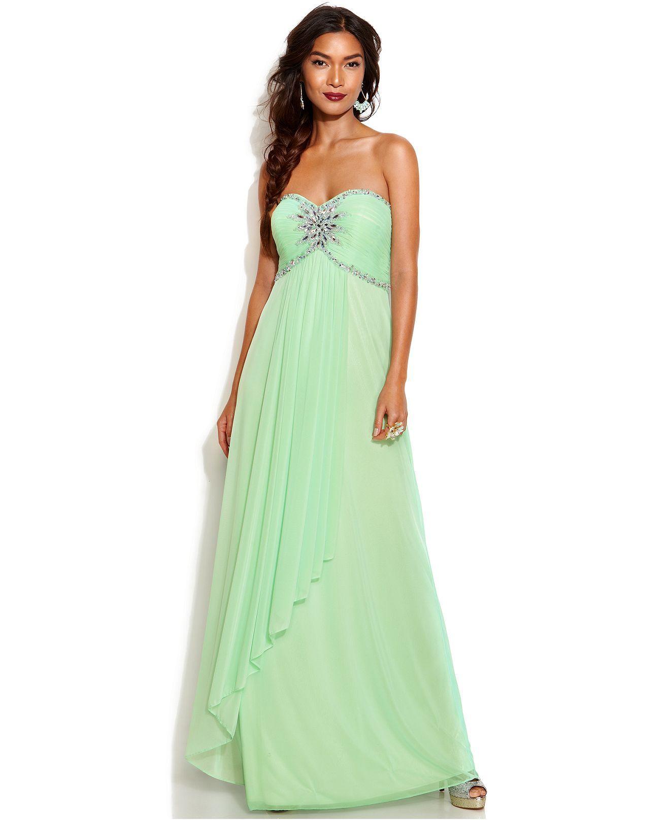 Xscape strapless embellished empirewaist gown juniors prom