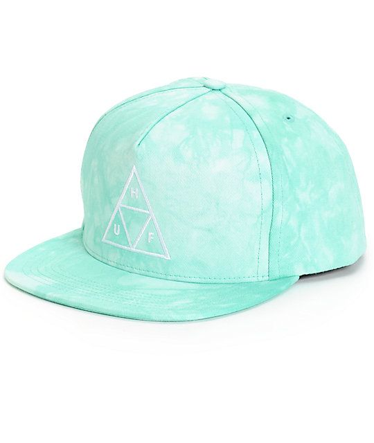 ece347b3b4f Top off your outfits with a stylish and stand out green tie dye design with  a white HUF triangle logo embroidered at the front.