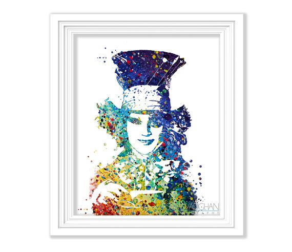 The Mad Hatter Watercolor Art Print Alice In Wonderland
