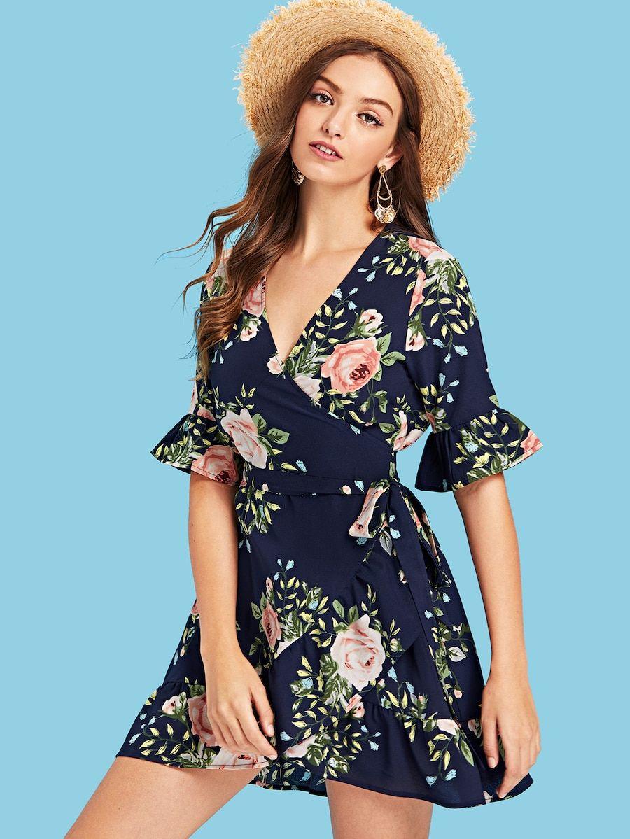 Tiered Flounce Sleeve Surplice Wrap Dress Wrap Dress Wrap Dress Outfit Dresses [ 1199 x 900 Pixel ]
