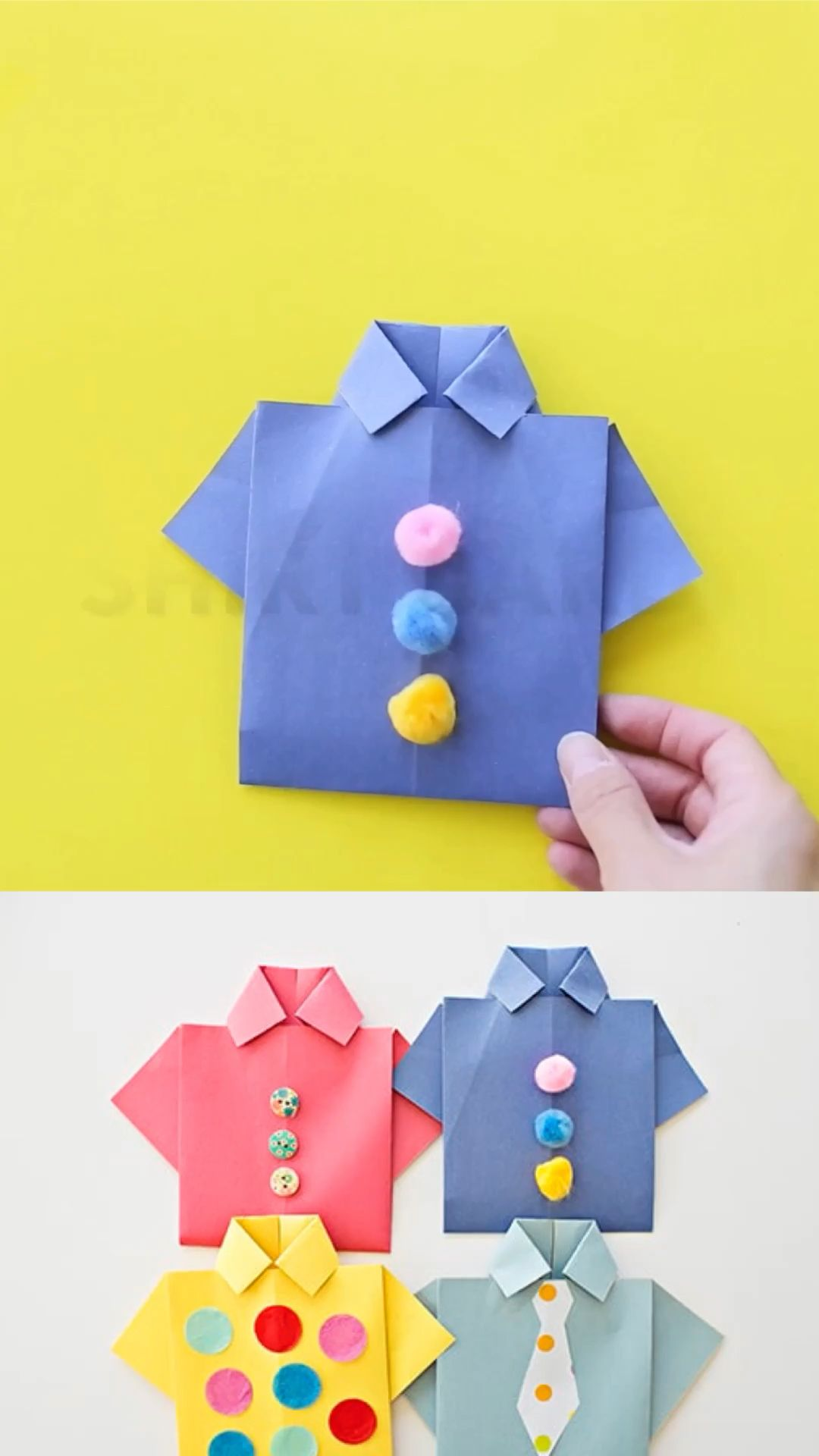 Make these origami shirt father's day cards with the kids to celebrate dad. Include a photo to make it a special handmade father's day card! #hellowonderful