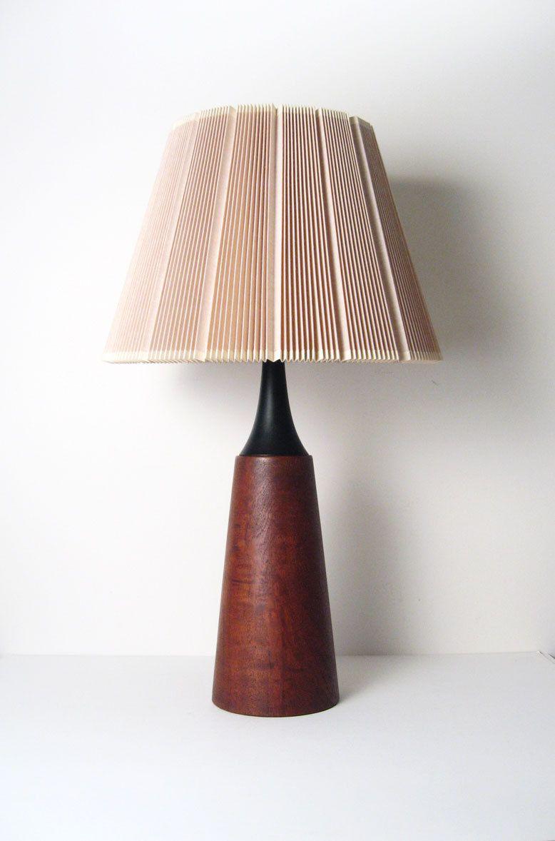 Mid Century Danish Modern Stiffel Lamp Teak Wood Base
