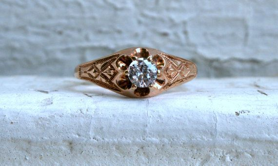 Sweet Antique 15K Rose Gold Diamond Engagement Ring by GoldAdore