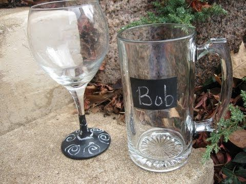 Chalkboard paint and dollar store glasses!  Everyone can keep track of their drinks!    #gift  #beer  #wine  #craft  #chalkboard #creative #paint