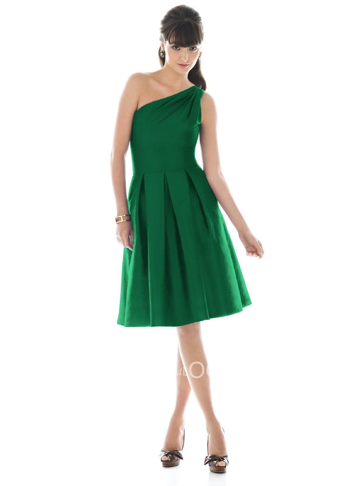 pine green one shoulder bridesmaid dress a-line skirt. Just ...