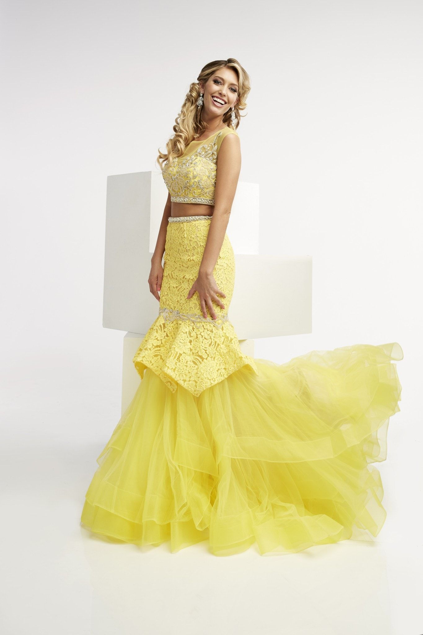 Jasz Couture 5991 Yellow High Neckline Open Back Two-Piece Prom Dress