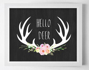 Antler Floral Print | ... print, Antler art, Printable art, Deer printable, Floral antler print