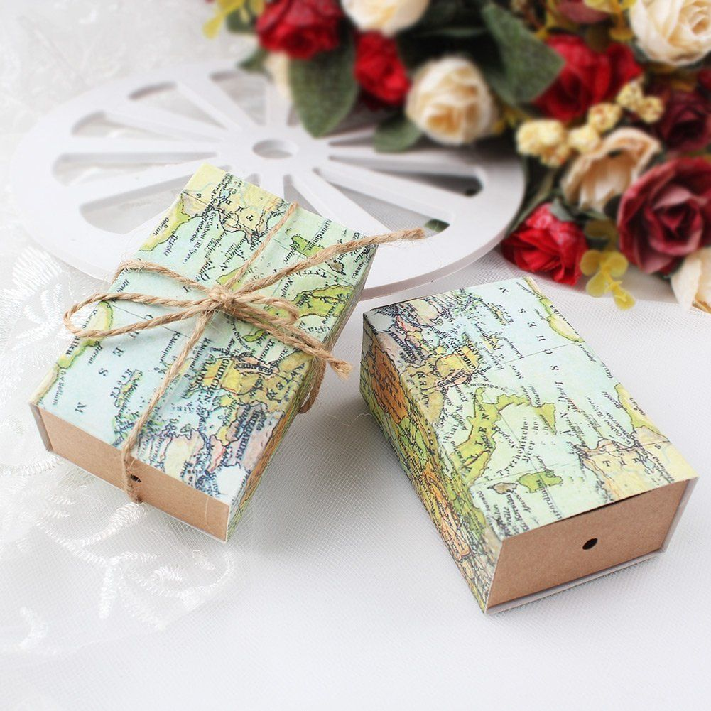 """50Pcs """"Around the World"""" Map Favor Boxes"""