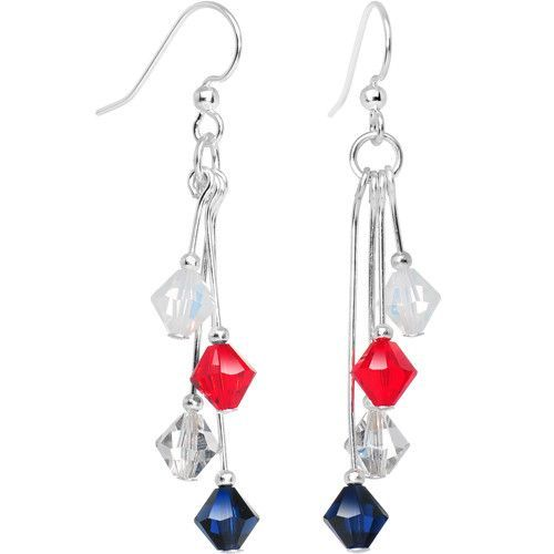 Blue Silver Red White Crystal Sports Team Earrings
