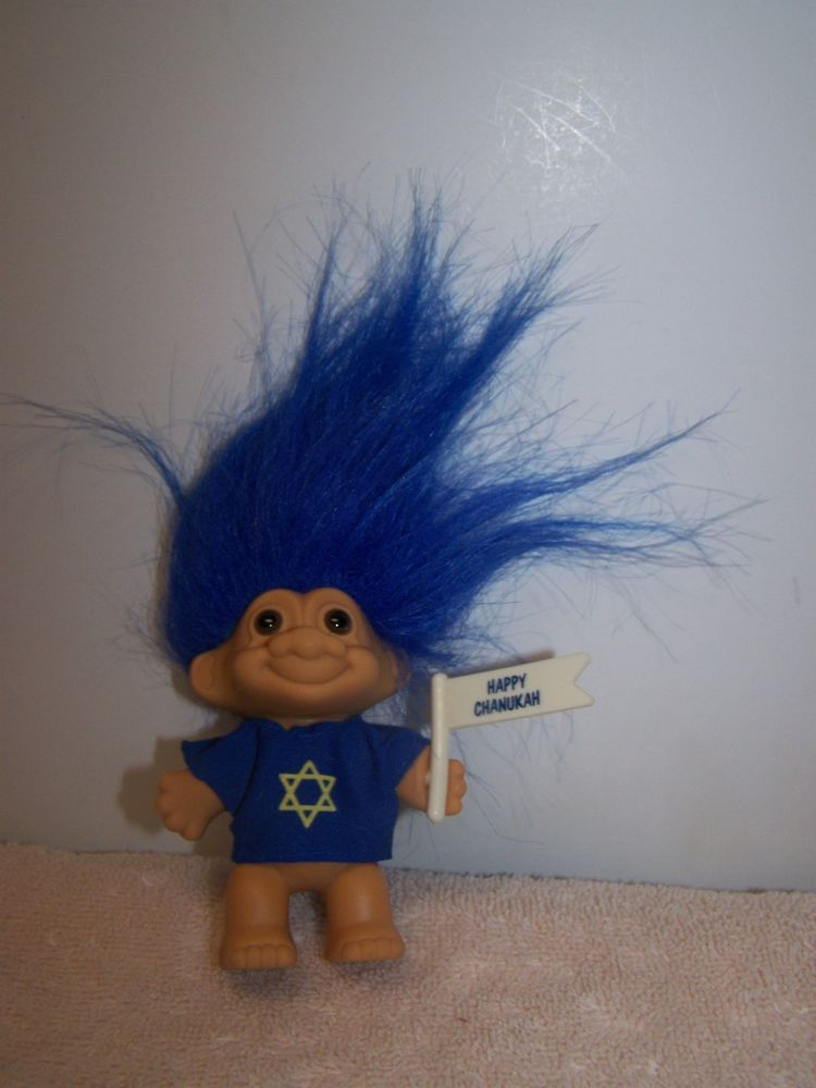 Russ Berrie Co Star Of David Israel Jewish Blue Hair Shirt Troll Doll