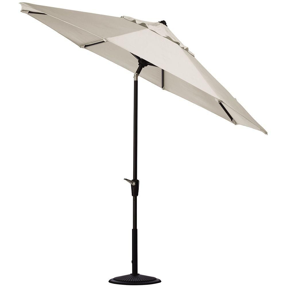 Home Decorators Collection 6 Ft Aluminum Auto Tilt Patio Umbrella In Sunbrella Canvas With Black Frame Patio Umbrella Home Decorators Collection