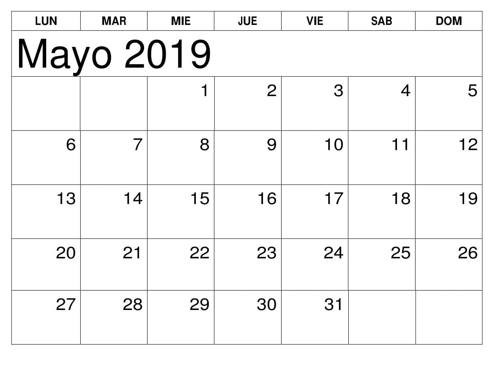 Calendario Word 2020.Editable Calendario Mayo 2019 Calendario Mayo 2019 Para