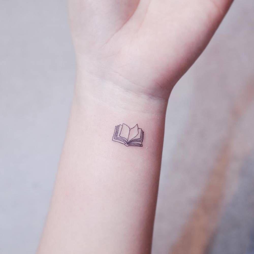 Tiny Fine Line Book Tattoo On The Wrist Ideas Mini