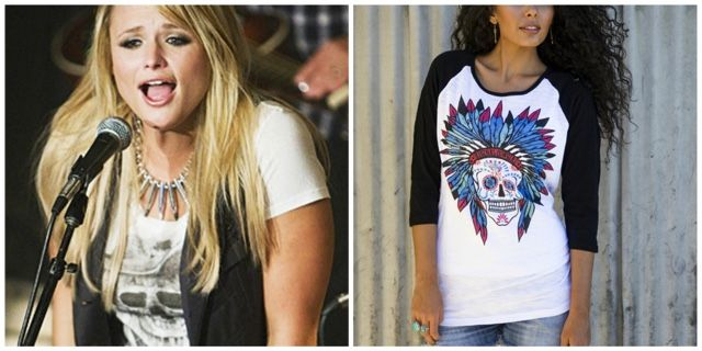 5. Skull Graphic Tee A touch of tough from the skull graphic, while the feminine cut of the top complements the rustic style perfectly. (TRS Version: Black Sleeve Sweet Sugar Skull Baseball Raglan Shirt Top, $46.99)