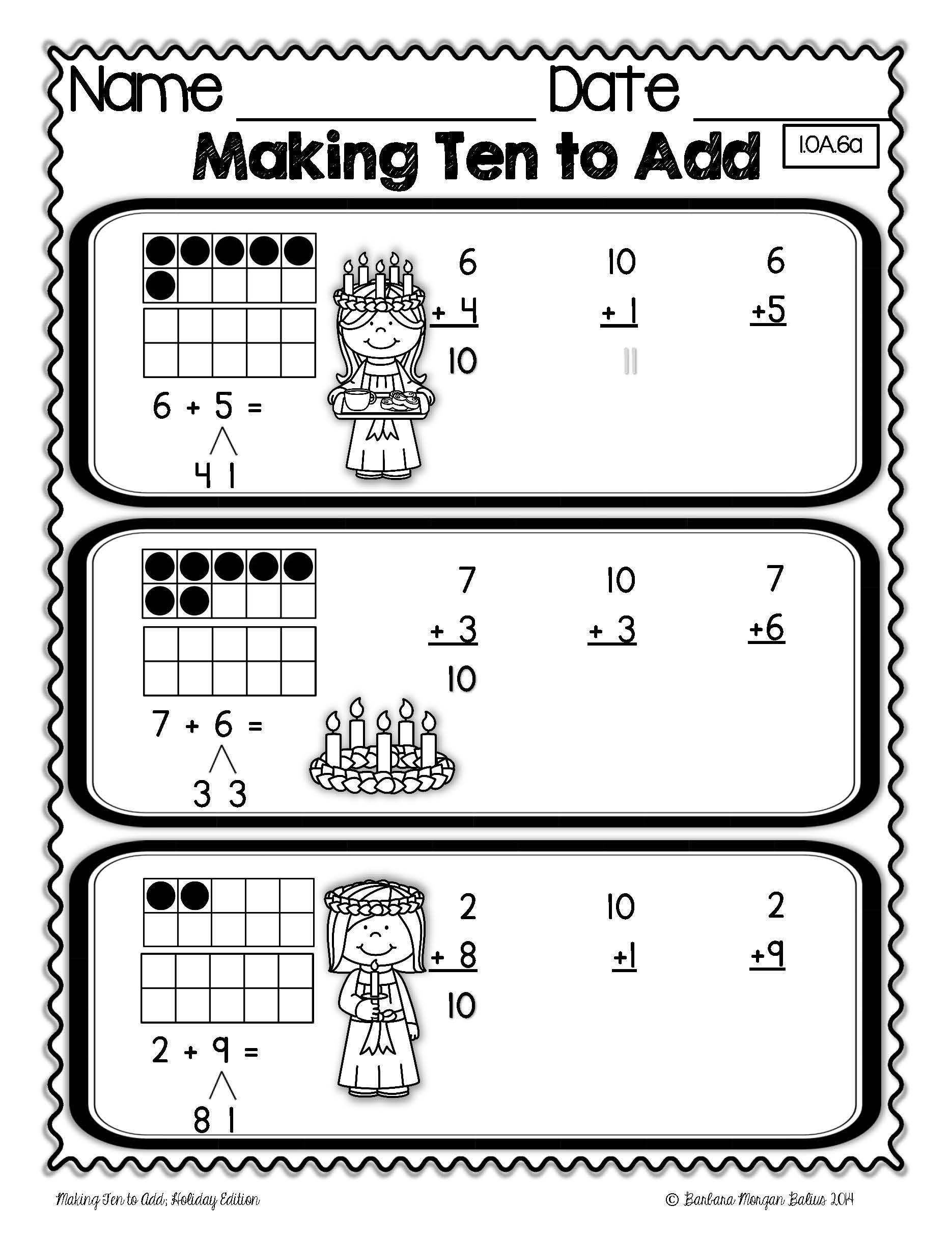 "Students ""make ten"" by breaking apart a smaller number and then adding the remainder of the broken-apart number to a ten. Working with a ten in addition is much easier than working with any other number. Making ten by breaking apart smaller numbers is crucial to understanding place value its representation and the relationship between numbers. All students need lots of practice with this skill in order to competently use it going forward."