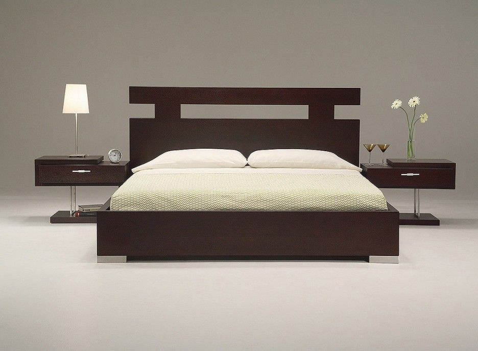 Ultra modern king size bed set from wooden material for Bedroom furniture layout ideas
