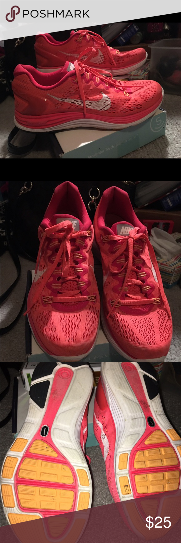 Nike Lunar running shoes Gently used, very little signs of wear. Super comfortable and fun color! Nike Shoes Athletic Shoes