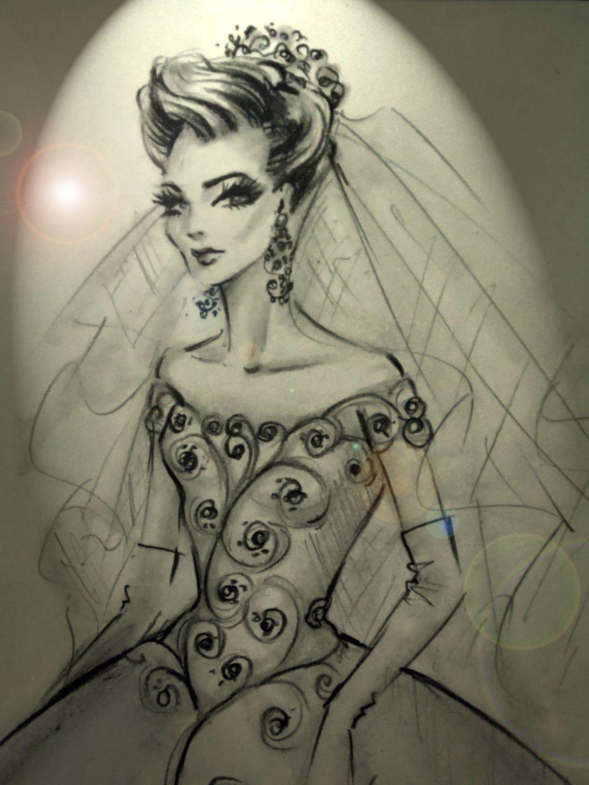 Desenhos de moda desenho de vestido de noiva estilo princesa prá l