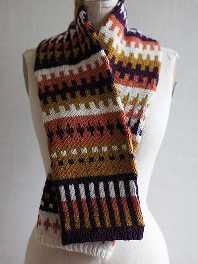 Free Knitting Pattern For Fair Isle Scarf With Geometric Pattern And