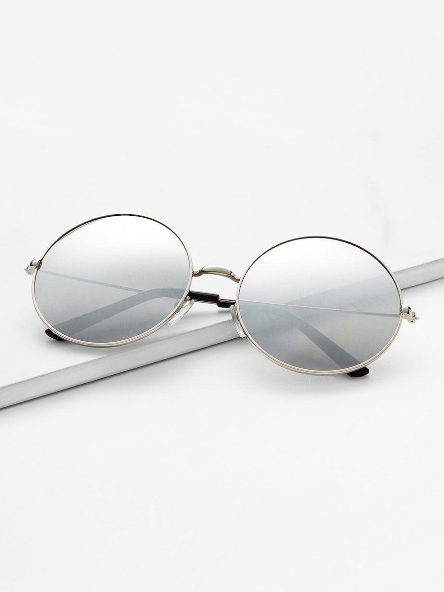 89f6c32b40 Sliver Mirrored Lenses Retro Round Sunglasses -SheIn(Sheinside ...