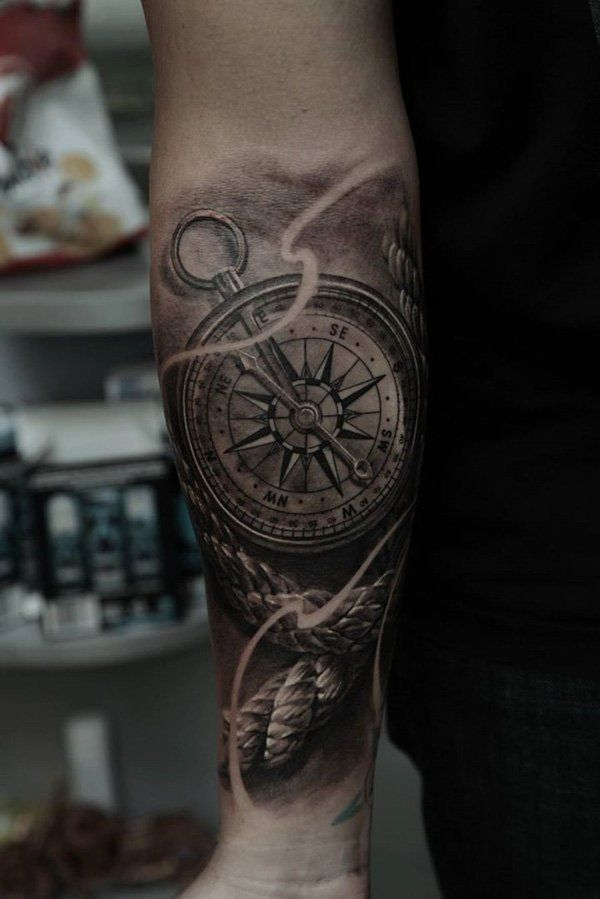 100 Awesome Compass Tattoo Designs | Compass tattoo design ...