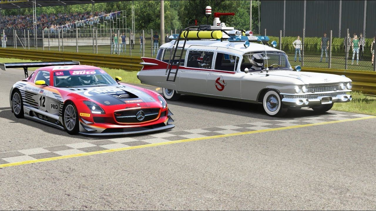 Mercedes Benz Sls Amg Gt3 Vs Ghostbusters Ectomobile At Monza Full