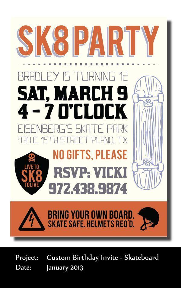 Skateboarding birthday invitations | Skate party | Pinterest ...