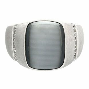 83b2cc1da34 Men's Unique Grey Cat's Eye and Diamond Ring In White Gold Available ...