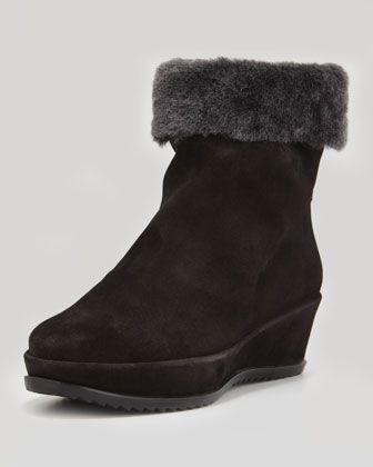 Warmer Fur-Lined Wedge Bootie, Black by Stuart Weitzman at Neiman Marcus.