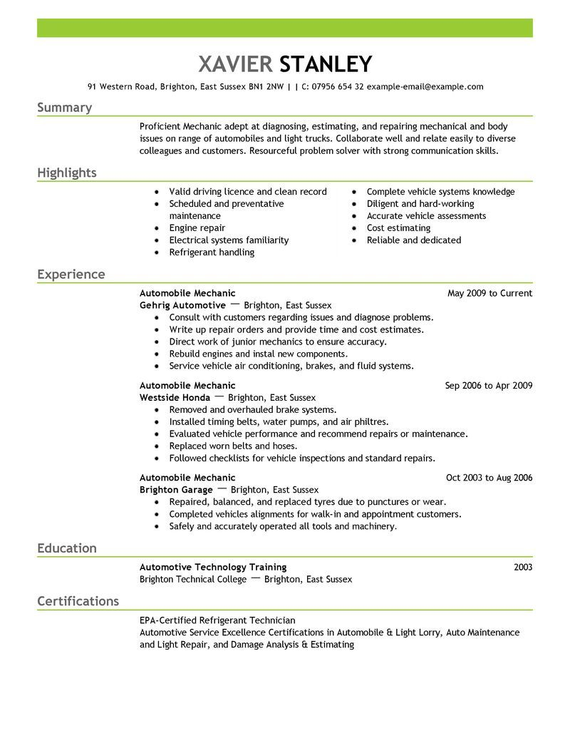 Best Mechanic Resume Example  Livecareer  Resume Ideas