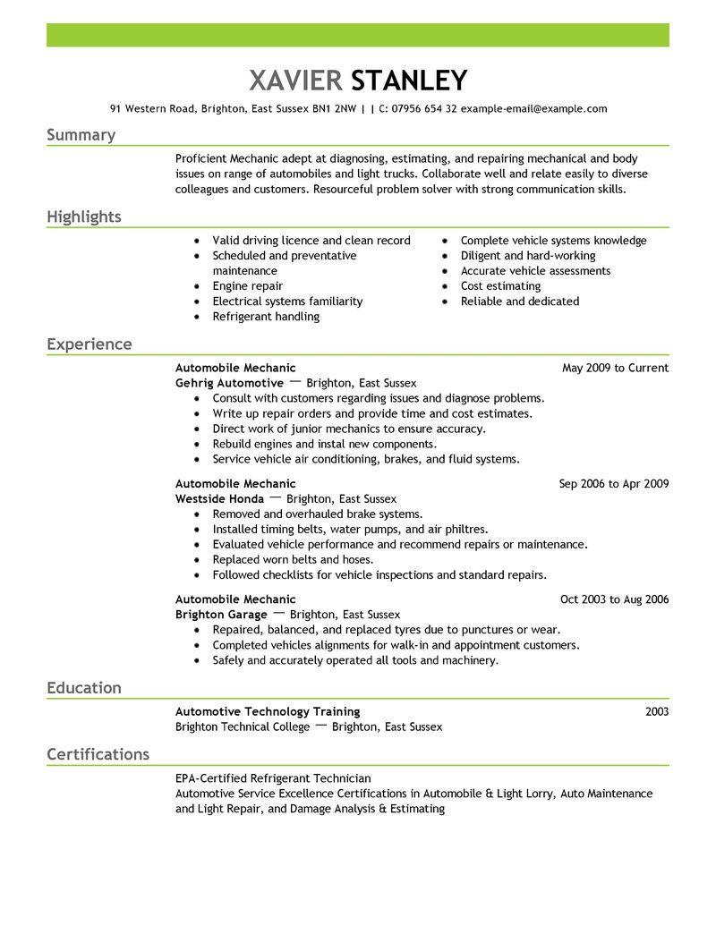 Best Mechanic Resume Example Livecareer Resume Objective Examples Resume Summary Examples Resume Examples
