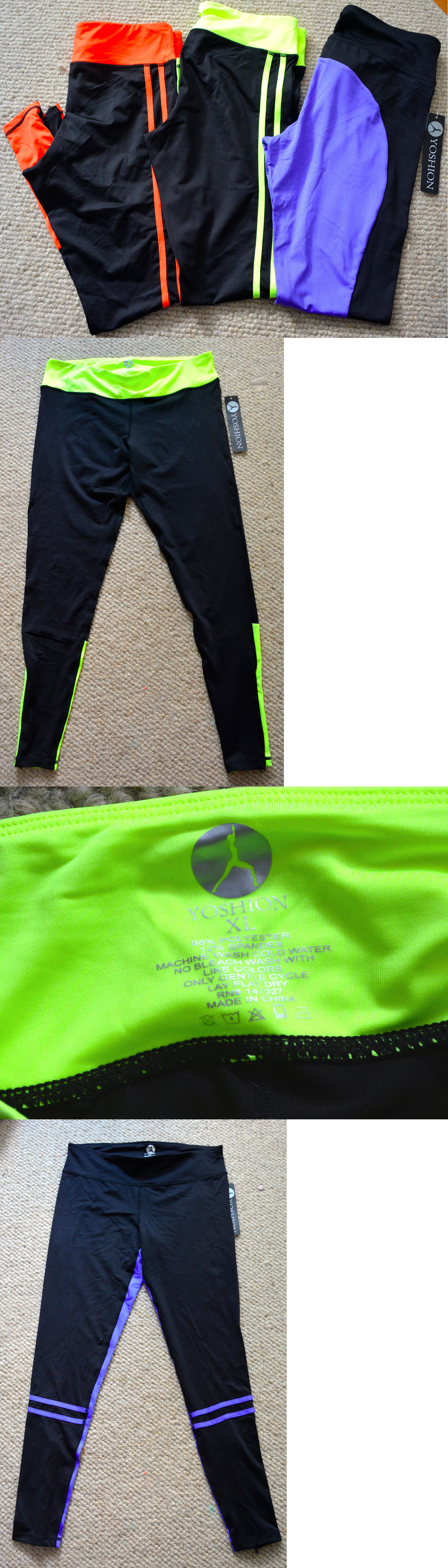 Compression and Base Layers 179822: New Lot 3 Yoshion Compression Running Leggings Pants Tights Black Orange Xl #Bj BUY IT NOW ONLY: $59.95
