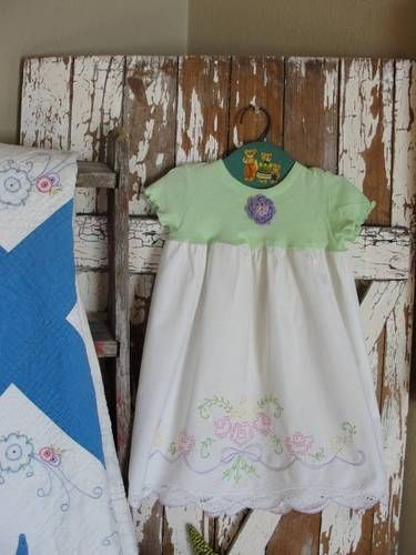 Sweet Little Girl's Green Vintage Embroidered Pillowcase Dress