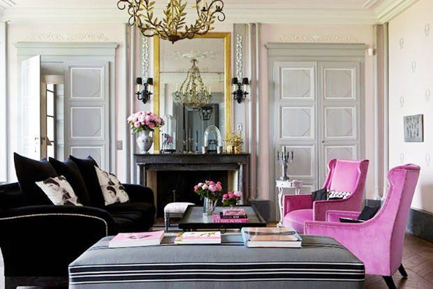 Great Hot Pink Living Room | Pink Grey Living Room Fuschia Arm Chairs Velvet Fireplace French  .
