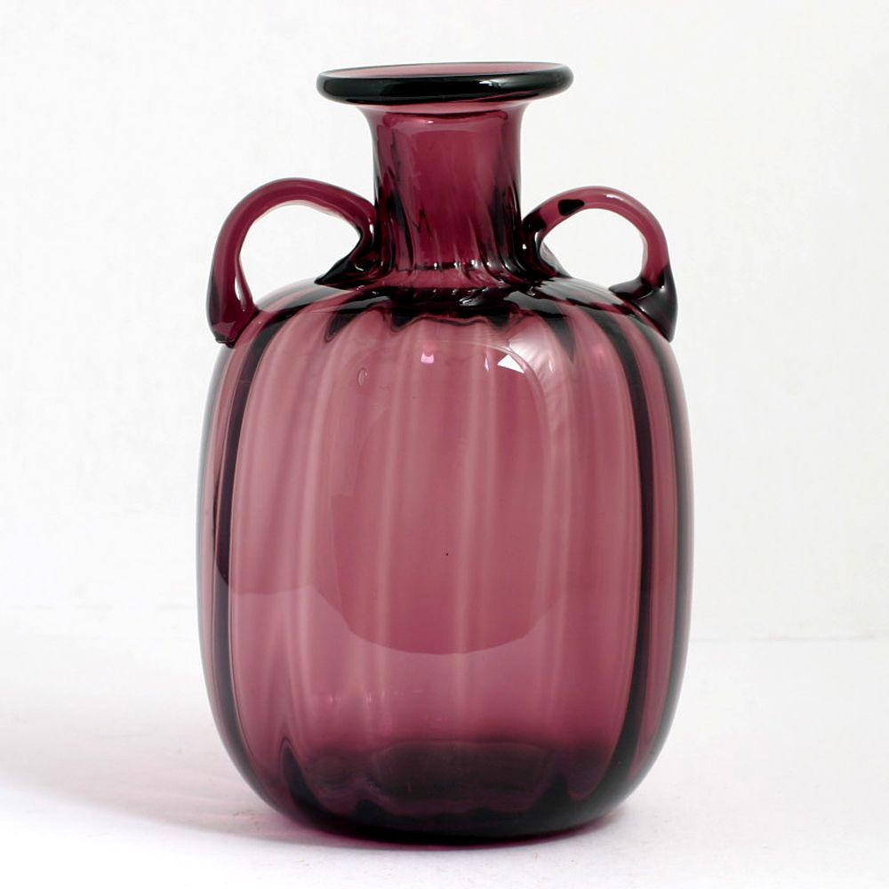 Amethyst Art Glass Vase Hand Blown Amphora Shape Vintage Mid Century Modern Bottle Glass Art Vase Glass Vase