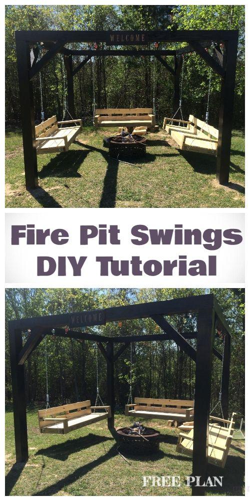Photo of DIY Pergola Firepit Swings Tutorial