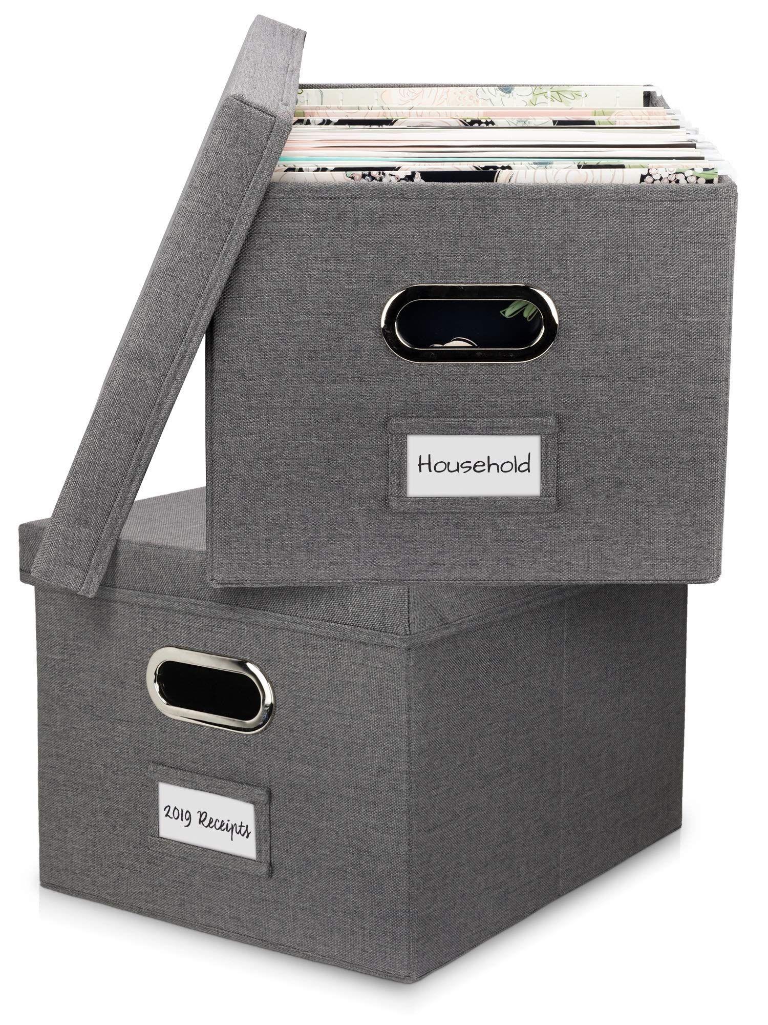 Amazon Com Beautiful File Organizer Box Set Of 2 Collapsible