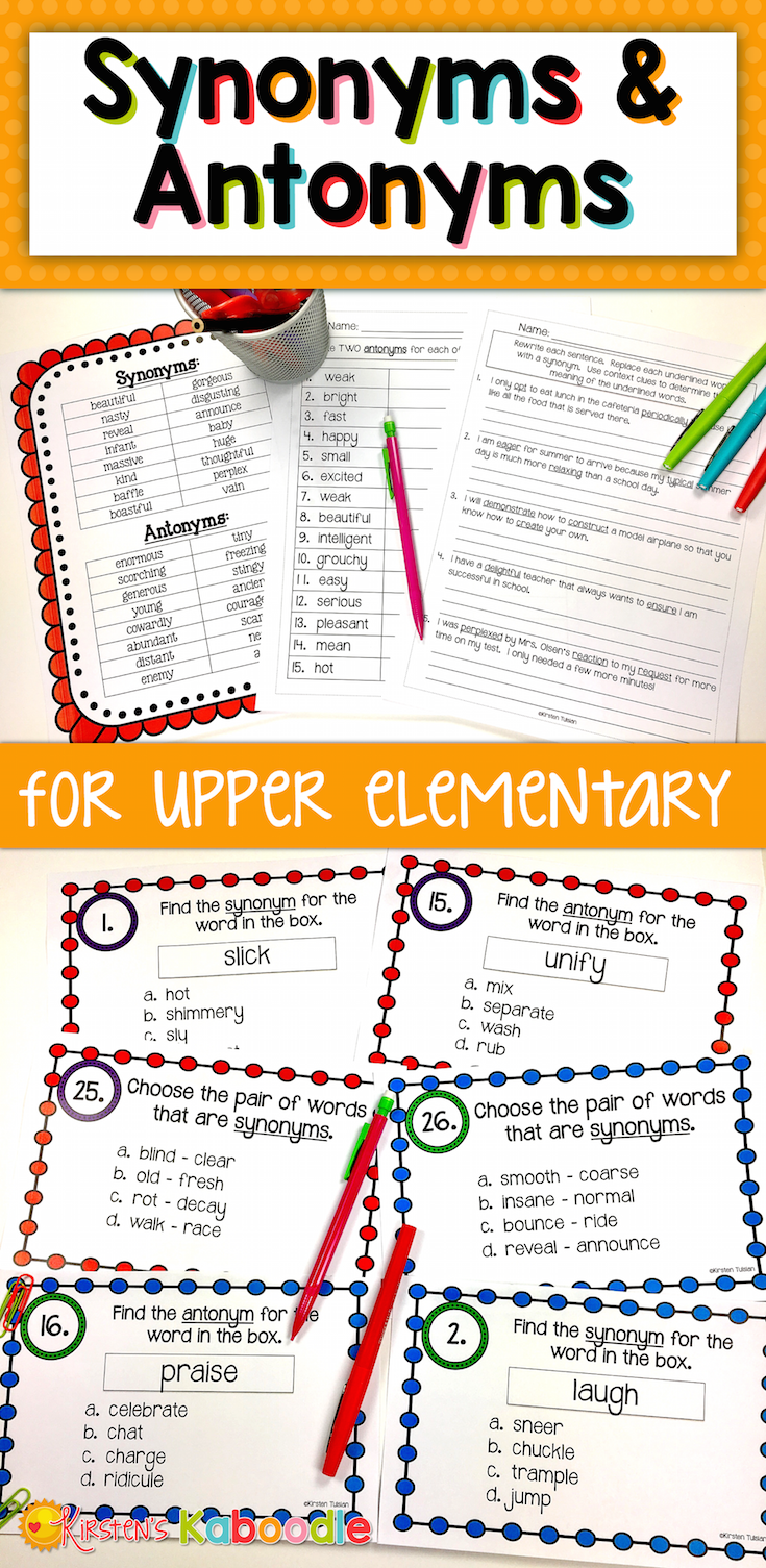 Synonyms and Antonyms Worksheets and Task Cards | Pinterest | Common ...
