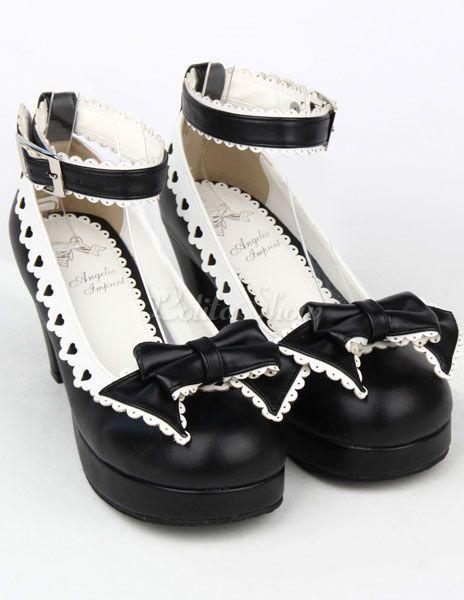 Lolitashow Gotik Lolita Boots Plattform Schuhe Schnallen Schnürsenkel in Schwarze